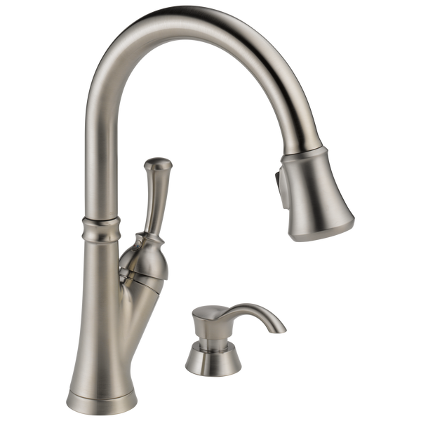 Single Handle Pull Down Kitchen Faucet With Soap Dispenser 19949 Sssd Dst Delta Faucet