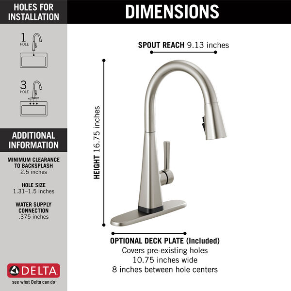 Single-Handle Pull-Down Kitchen Faucet with Touch2O® Technology, image 4