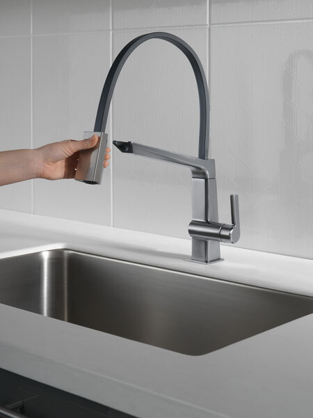 Single Handle Exposed Hose Kitchen Faucet, image 5