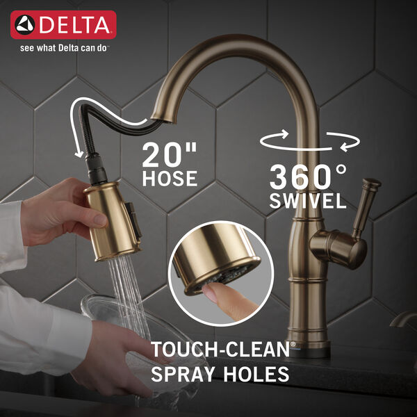Single Handle Pull-Down Kitchen Faucet with Touch2O Technology and Soap Dispenser, image 5