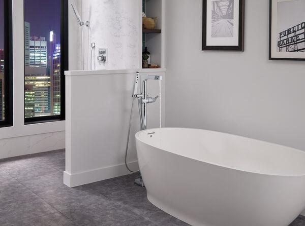 Single Handle Floor Mount Tub Filler Trim with Hand Shower, image 18