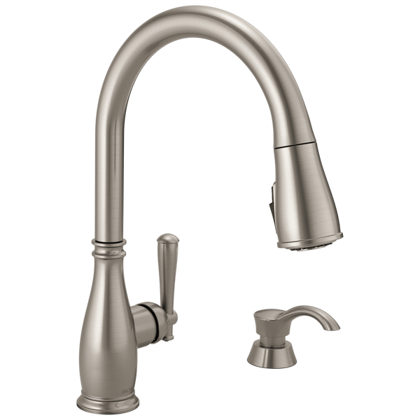 Single Handle Pull-Down Kitchen Faucet with Soap Dispenser and ShieldSpray® Technology (Recertified), image 1
