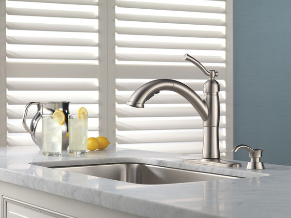 Single Handle Pull-Out Kitchen Faucet with Soap Dispenser, image 3