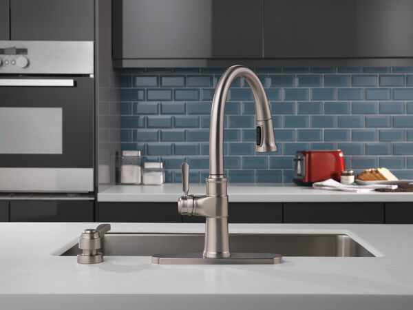 Single Handle Pull-Down Kitchen Faucet with Soap Dispenser and ShieldSpray® Technology, image 3