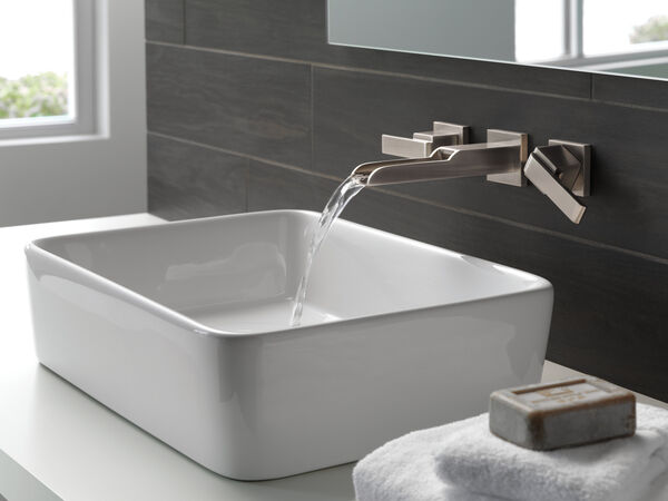 Two Handle Wall Mount Channel Bathroom Faucet Trim, image 5