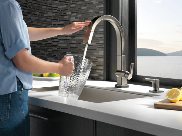 Single Handle Pull Down Kitchen Faucet with Touch<sub>2</sub>O® Technology, image 3