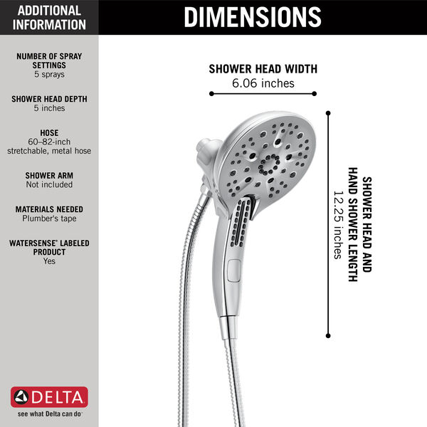 In2ition® H<sub>2</sub>Okinetic® 5-Setting Two-in-One Shower, image 13