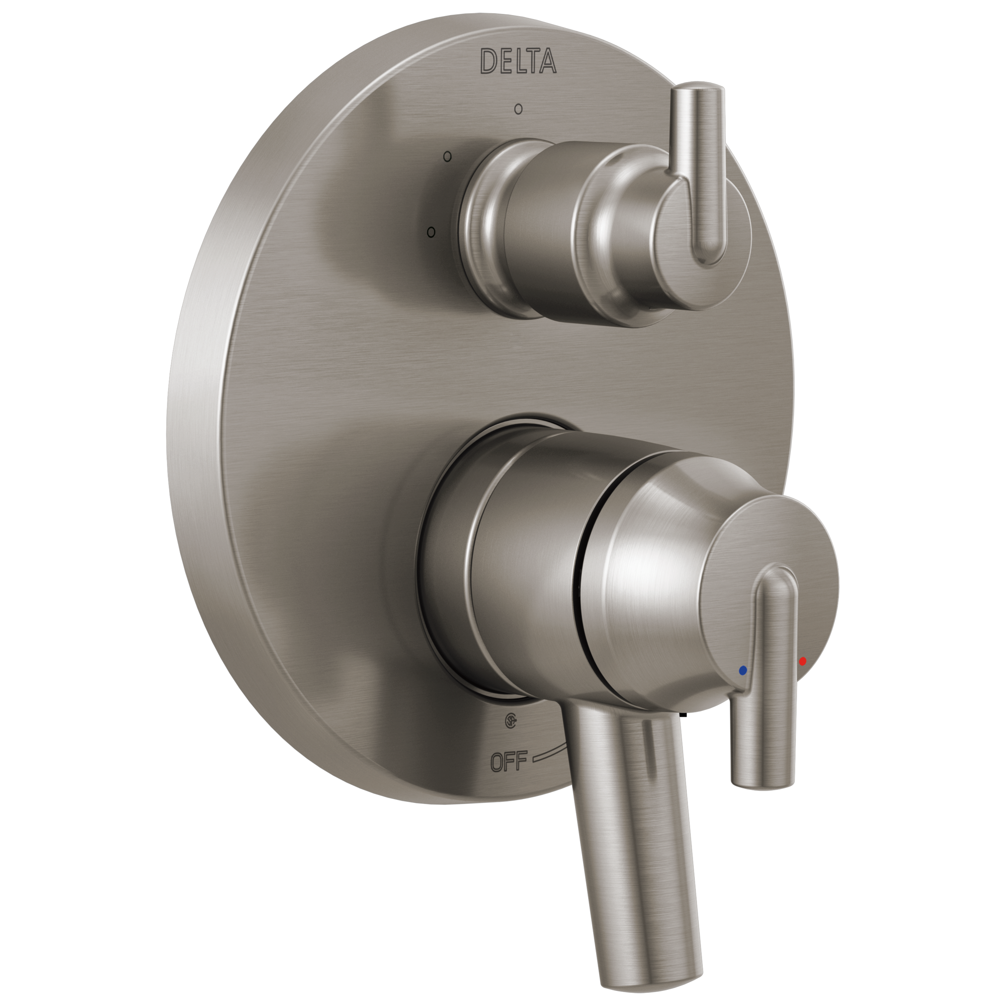 Contemporary Two Handle Monitor® 17 Series Valve Trim with 3-Setting Integrated Diverter