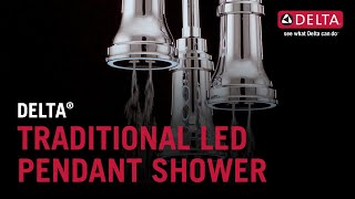 Delta<sup>&reg;</sup> Traditional Pendant Raincan Shower Head with LED Light
