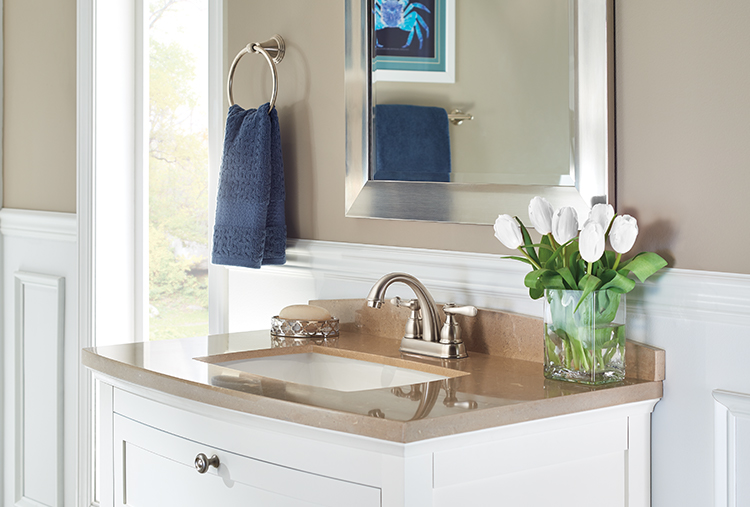 Bathroom fixture finishes: Brushed nickel hides water spots and fingerprints