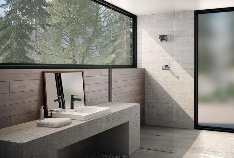 modern bathroom with trees showing through large window